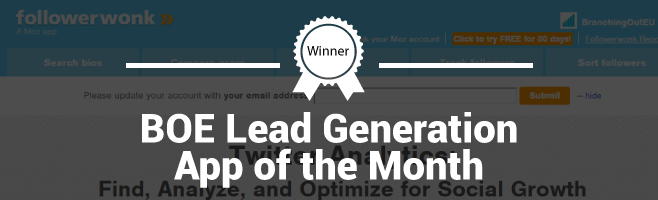 Followerwonk – Branching Out Europe Lead Generation App of the Month